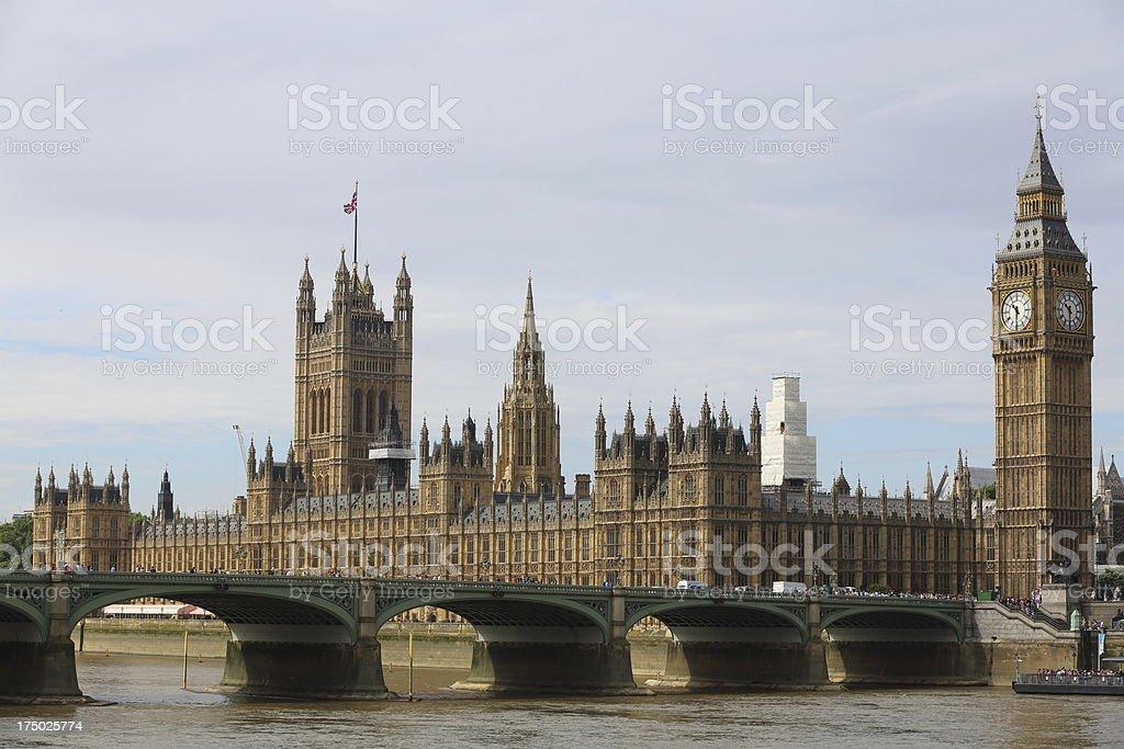 Big Ben clock tower and London Bridge royalty-free stock photo