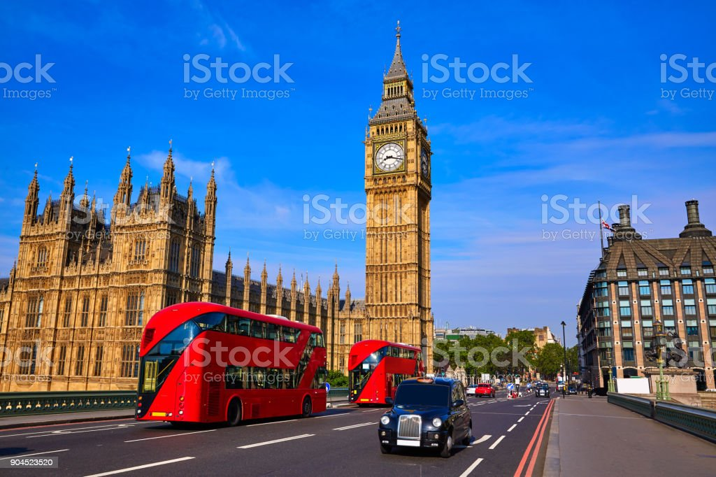 Big Ben Clock Tower and London Bus stock photo