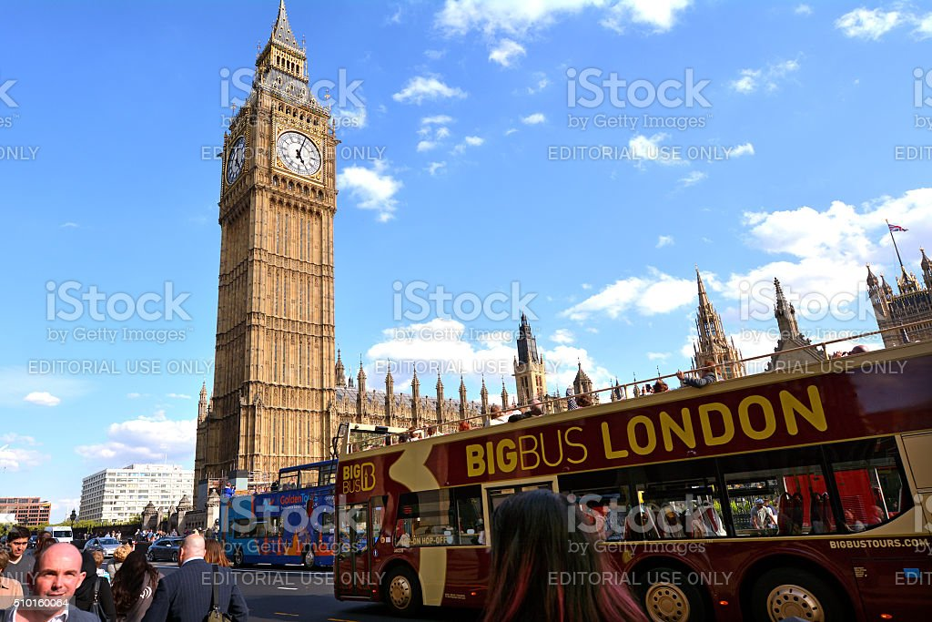 Big Ben Clock Tower and Palace of Westminster stock photo