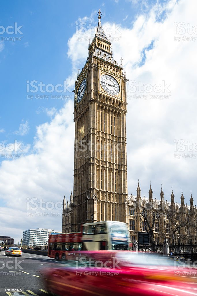 Big Ben Clock Tower at Westminister royalty-free stock photo