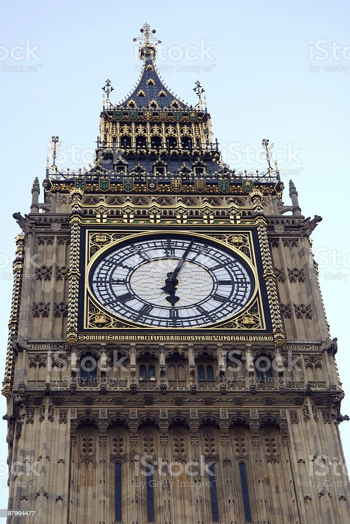 Big Ben clock tower, London, at 6 pm royalty free stockfoto