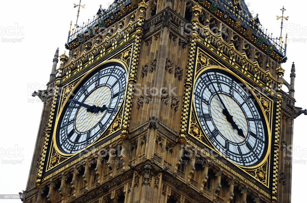Big Ben close up clock face detail landmark London stock photo
