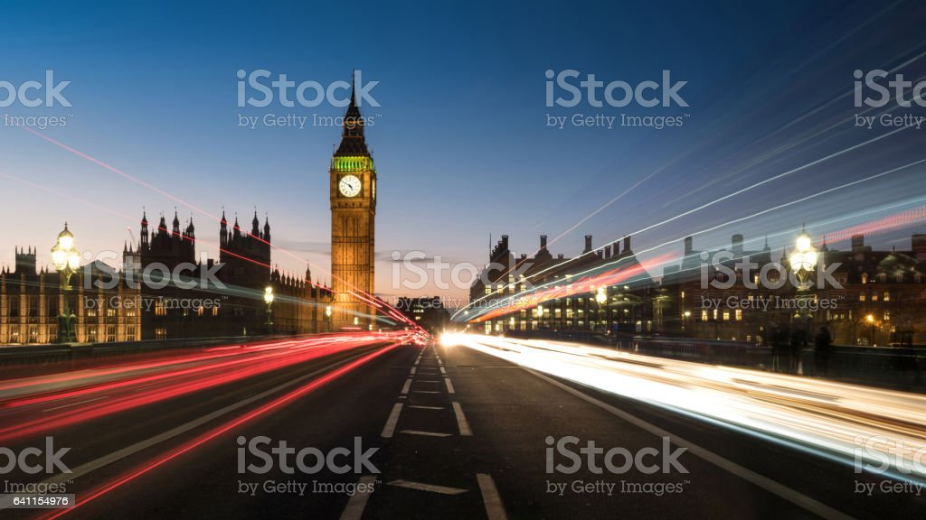 Big Ben from the Road with Light Trails stock photo
