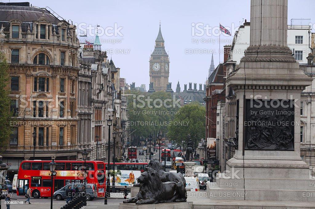 Big Ben from Trafalgar Square stock photo