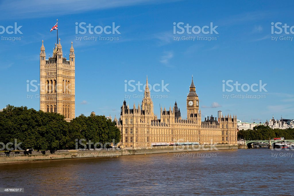 Big Ben, Houses of Parliament, and the River Thames stock photo