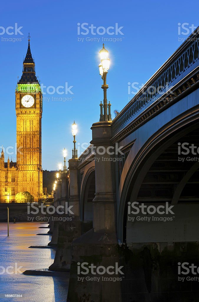 Big Ben illuminated night Westminster Bridge London UK stock photo