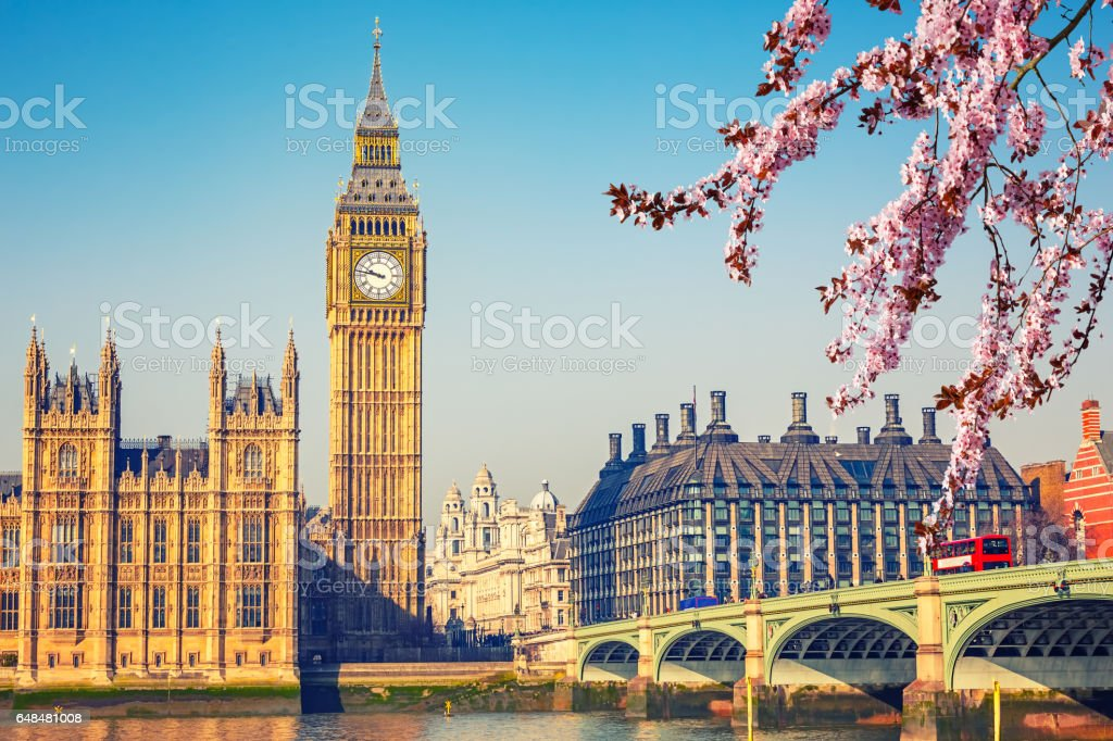 Big Ben in London at spring stock photo