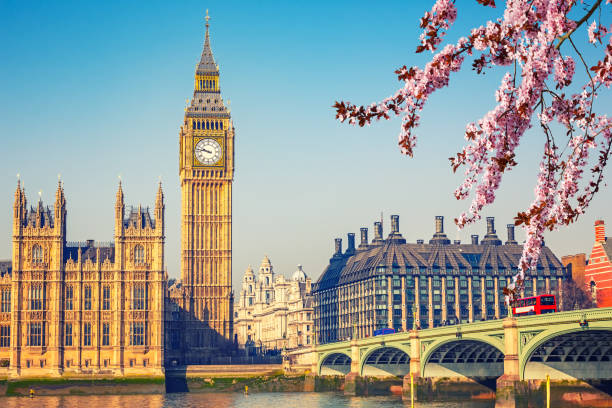 big ben in london at spring - вестминстер лондон стоковые фото и изображения