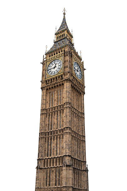big ben in london on white background - big ben stock photos and pictures