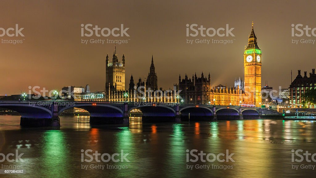 Big Ben in the night scene, London. stock photo