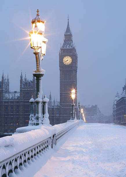 Big Ben in the Snow stock photo