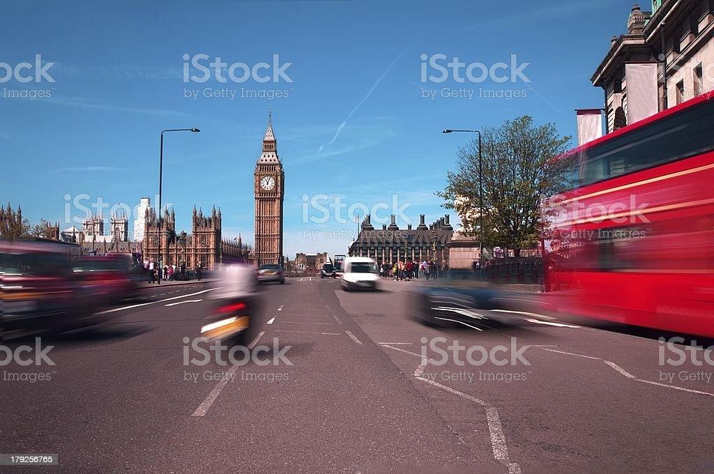 Big ben, london bus, abstract royalty-free stock photo