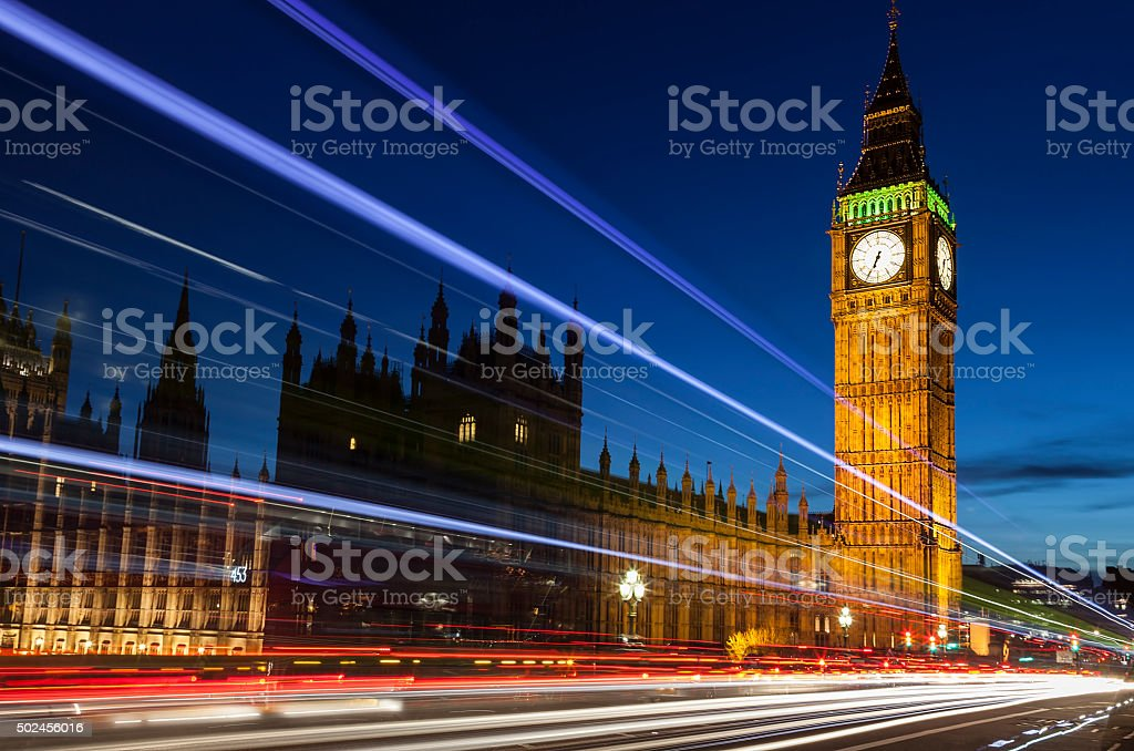 Big Ben London England by Night stock photo