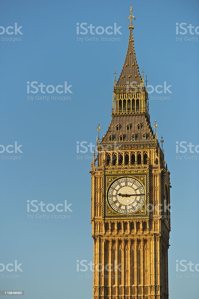Big Ben of the Houses of Parliament in Westminster, London royalty-free stock photo