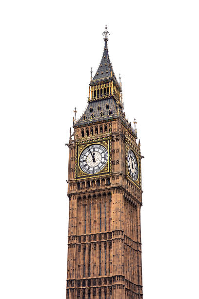 big ben on white background - big ben stock photos and pictures