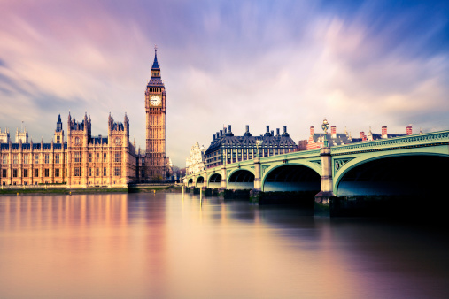 Big Ben and Westminster Bridge, London, UK.
