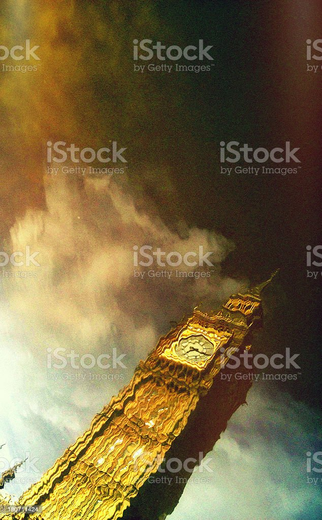Big Ben reflected in water royalty-free stock photo