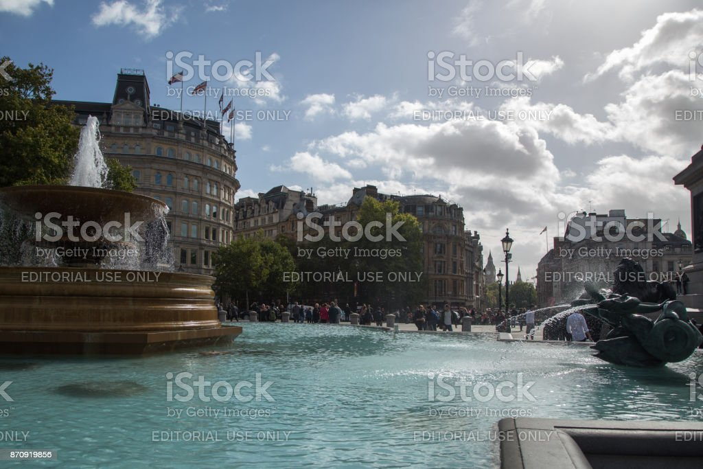 Big Ben seen from Trafalgar Square - London, England. stock photo