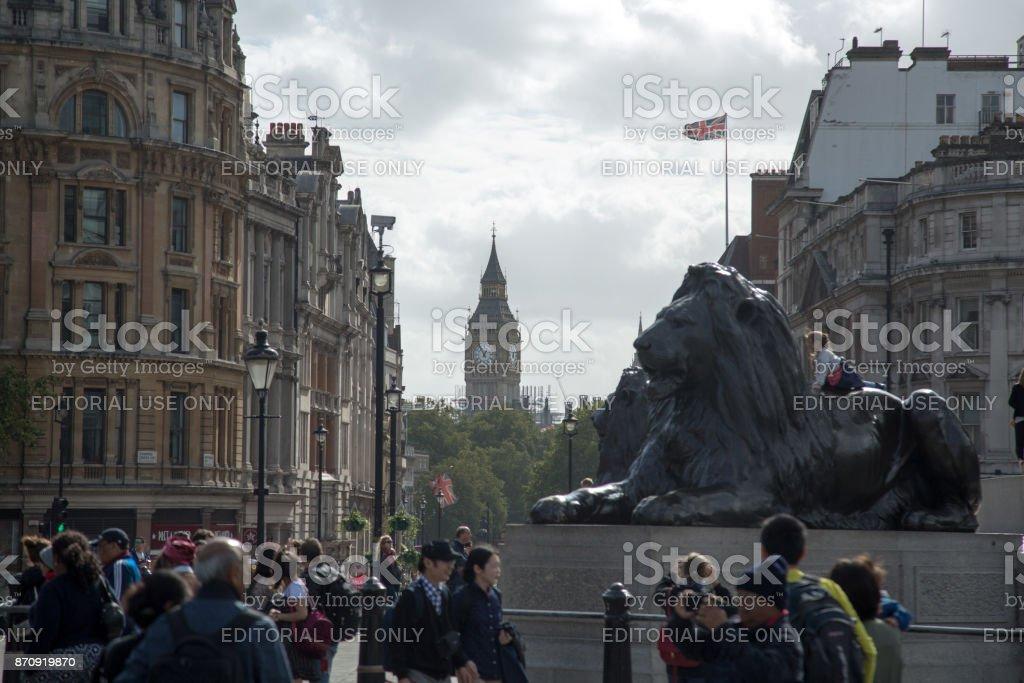 Big Ben seen from Trafalgar Square - London / Enlgand stock photo