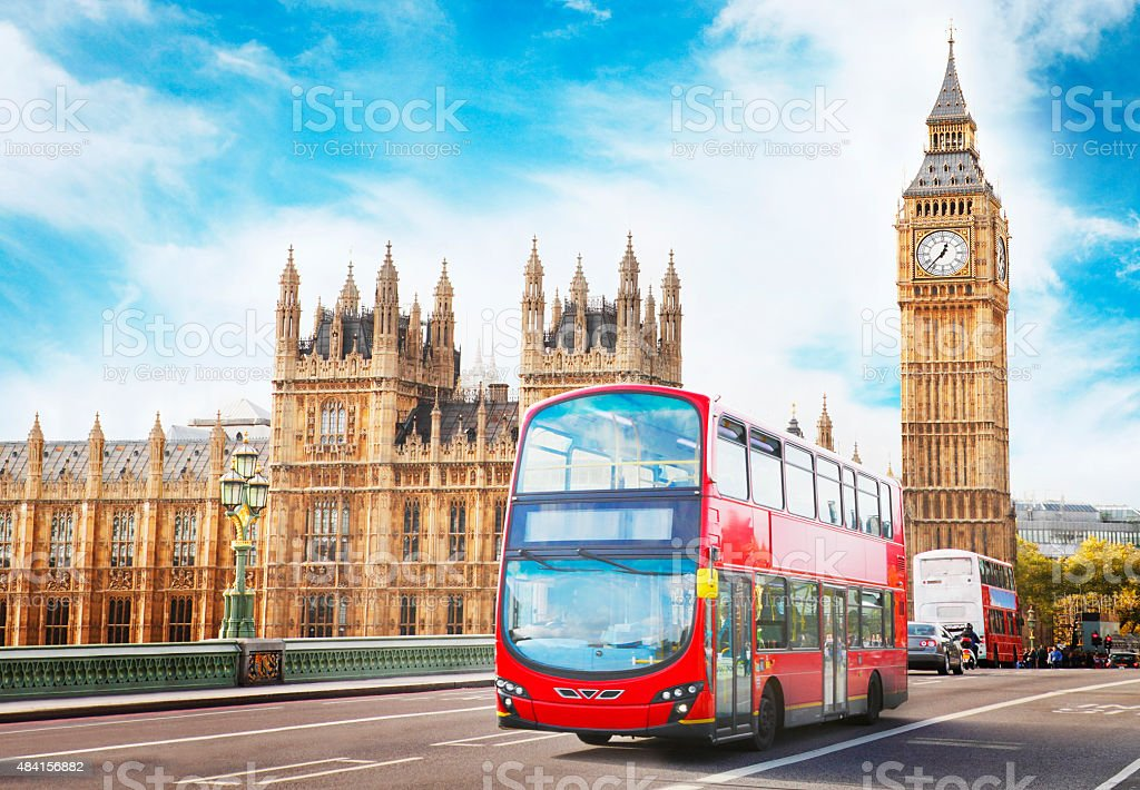 Big Ben, the Parliament and doubledecker in London stock photo
