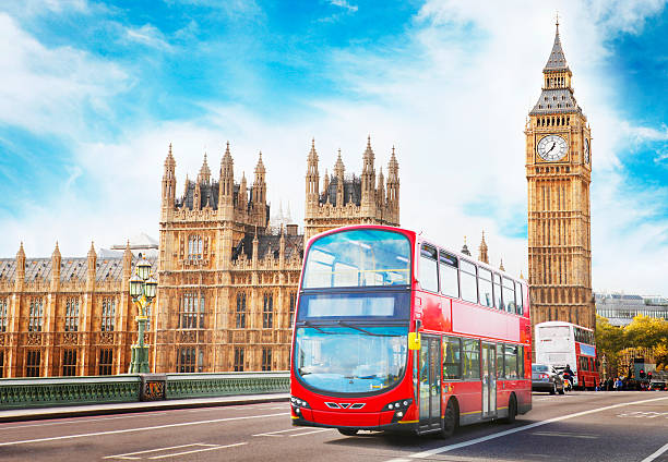 big ben, the parliament and doubledecker in london - big ben stock photos and pictures