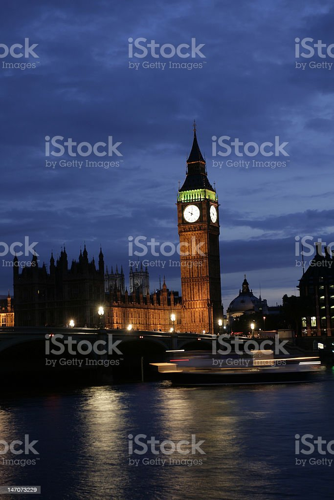 Big Ben Tower by Night stock photo