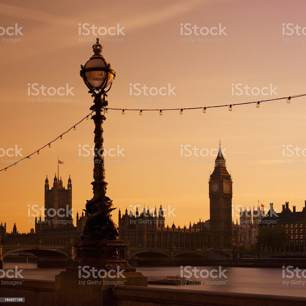 Big Ben tower clock and Parliament Houses stock photo