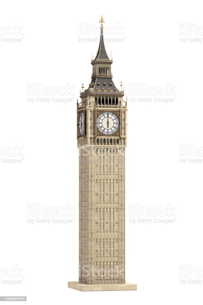 Big Ben Tower the architectural symbol of London, England and Great Britain Isolated on white background stock photo