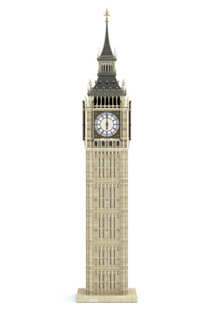 Big Ben Tower the architectural symbol of London, England and Great Britain Isolated on white background. stock photo