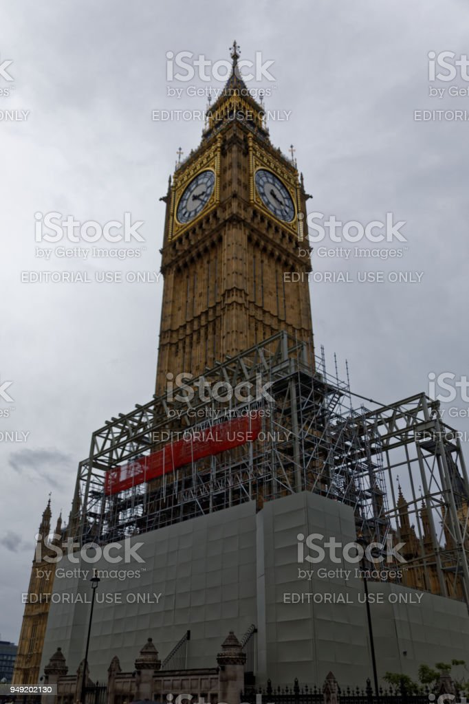 Big Ben under renovation stock photo