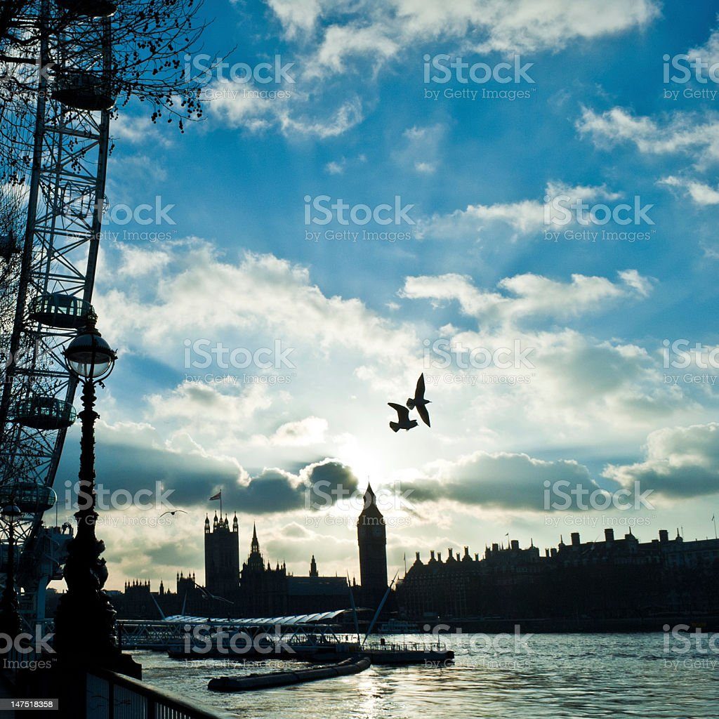 Big Ben, Victoria Tower, Birds Silhouette In A Wonderful Sky. royalty-free stock photo