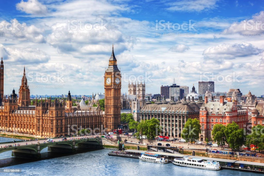 Big Ben, Westminster Bridge on River Thames in London, the UK. Sunny day stock photo