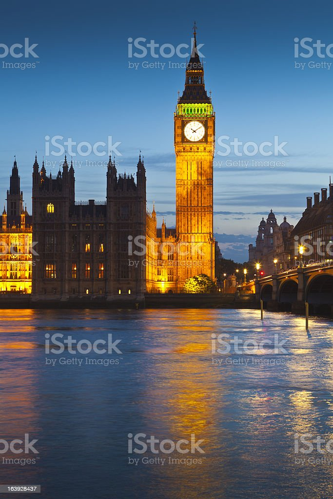 Big Ben, Westminster, Houses of Parliament, London royalty-free stock photo