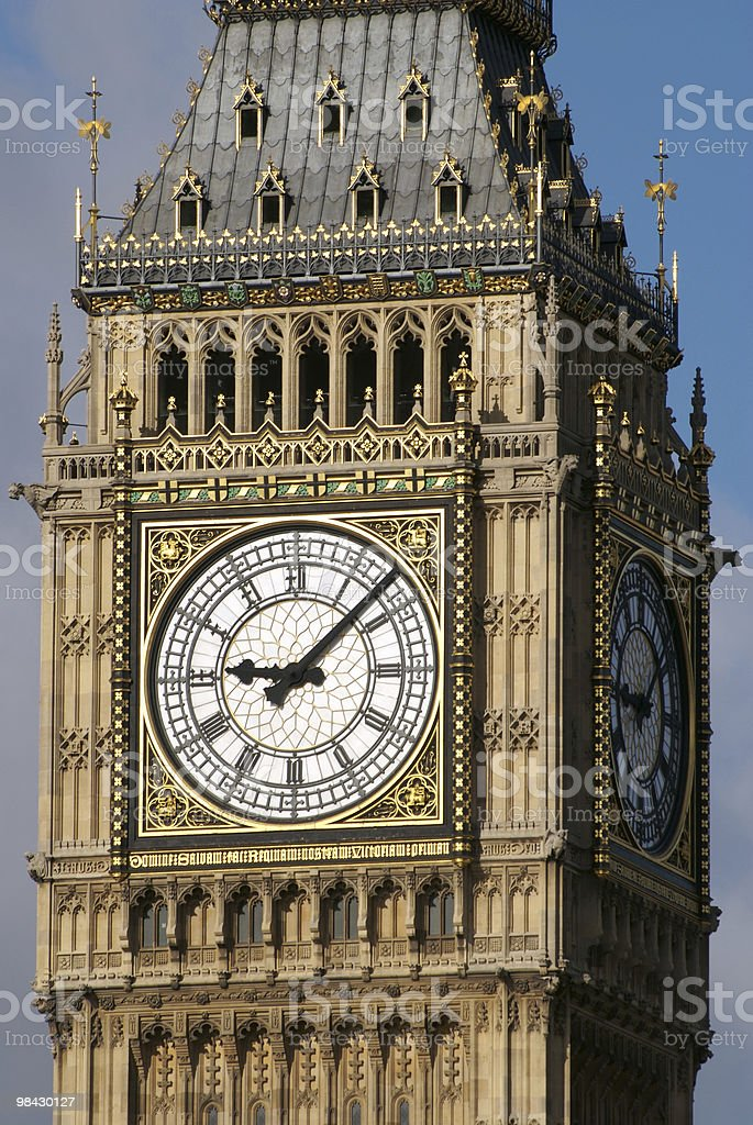 Big Ben, Westminster, London - close-up (bell tower) royalty-free stock photo