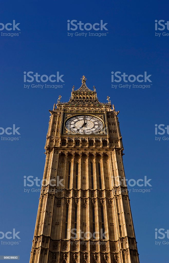 Big Ben, Westminster, London. Eight O'Clock in the morning royalty-free stock photo