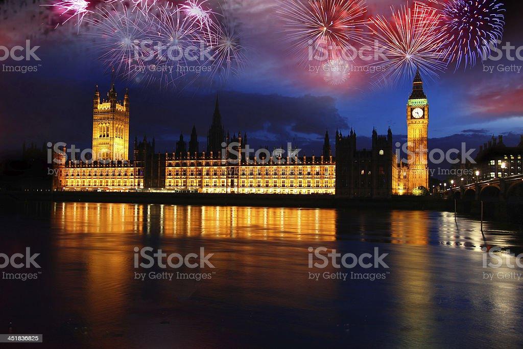Big Ben with firework, celebration, New Year in London, UK stock photo