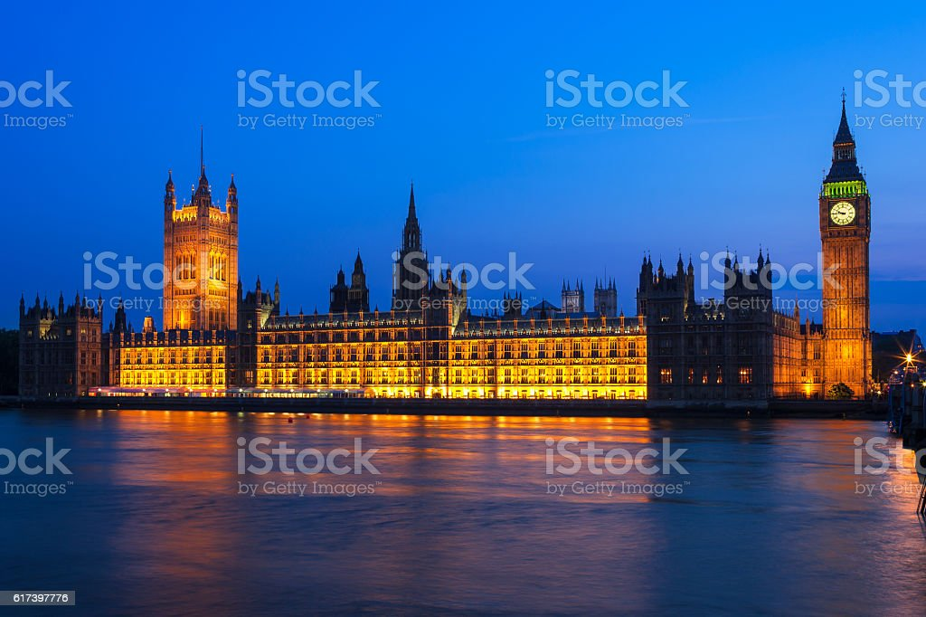 Big Ben with Houses of Parliament at night. London, UK stock photo