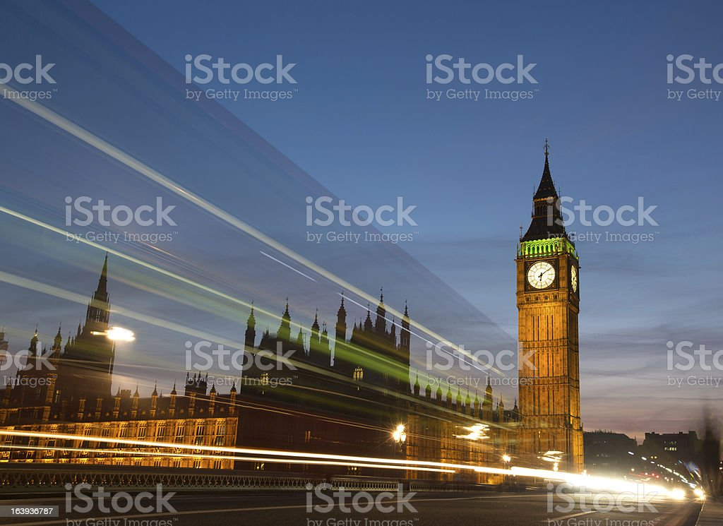 Big Ben with light trails royalty-free stock photo
