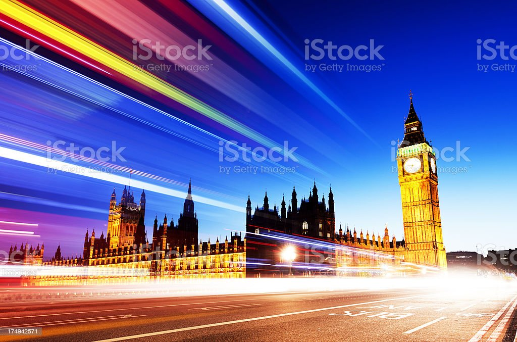 Big Ben with Passing Traffic Lights London UK royalty-free stock photo
