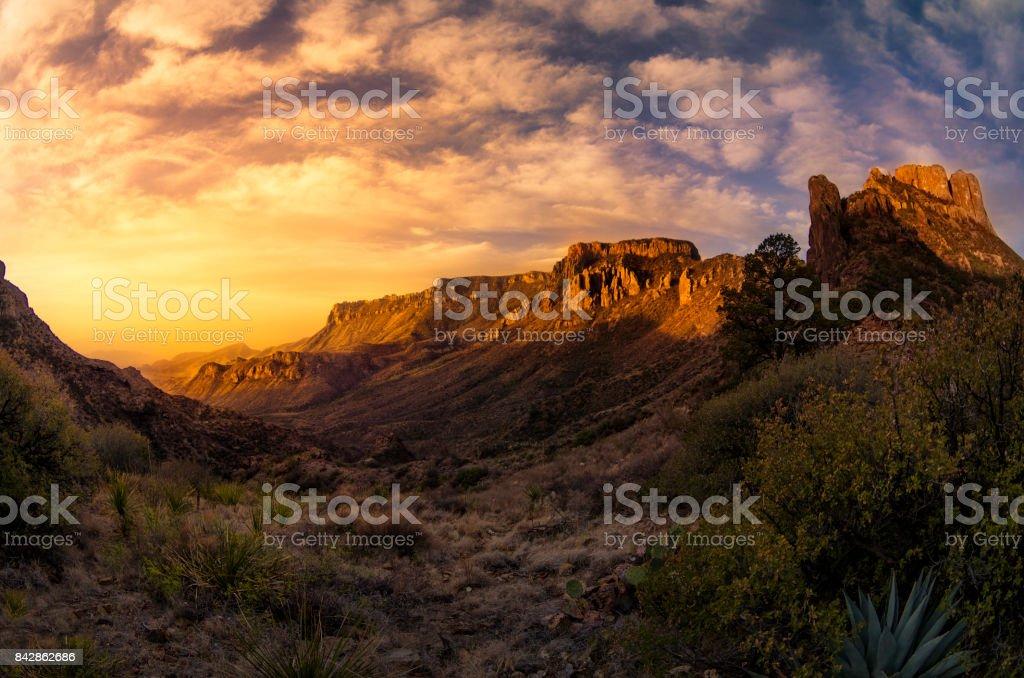 Big Bend Sunrise stock photo