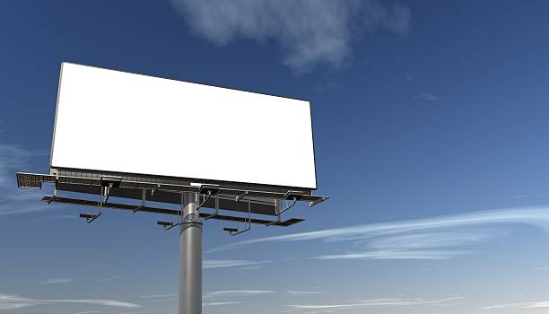 Big Billboard Large billboard on a blue sky with copy space for your own message.This is a detailed 3d rendering. multiple lane highway stock pictures, royalty-free photos & images