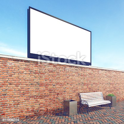 istock Big billboard, stock image, brick wall with bench, mock up 611896224