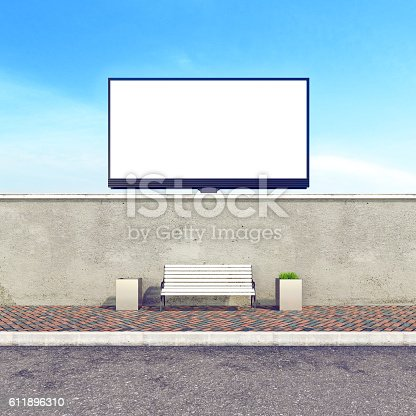 istock Big billboard, stock image, concrete wall with bench, mock up 611896310