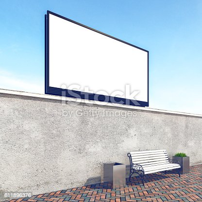 istock Big billboard, stock image, concrete wall with bench, mock up 611896376