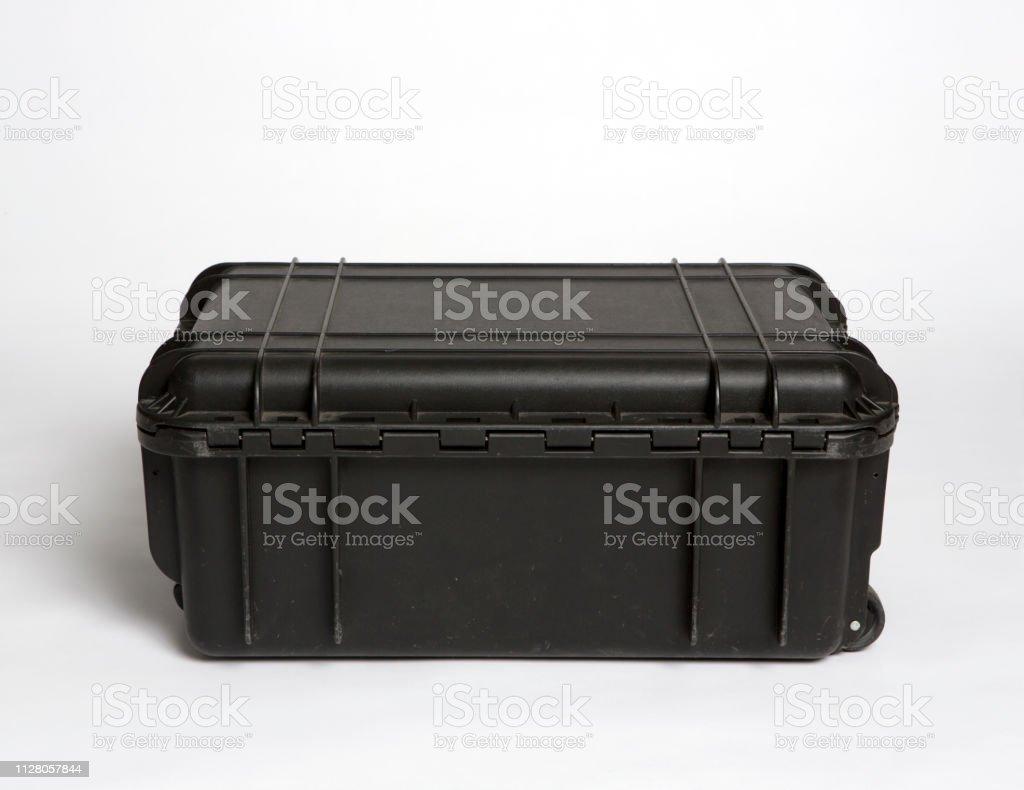 big black plastic case on white background stock photo