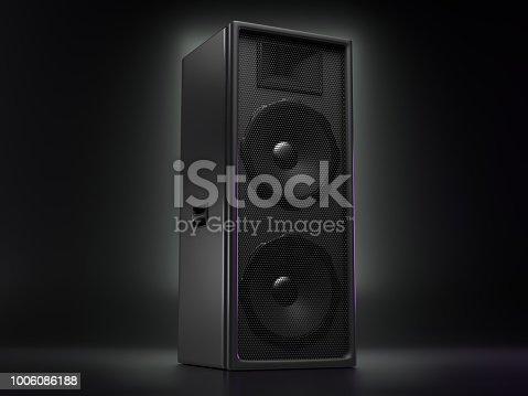 istock Big black speaker on a reflective background 1006086188