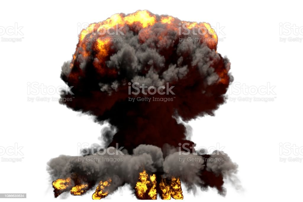 large fire mushroom cloud explosion with smoke and flames - looks...