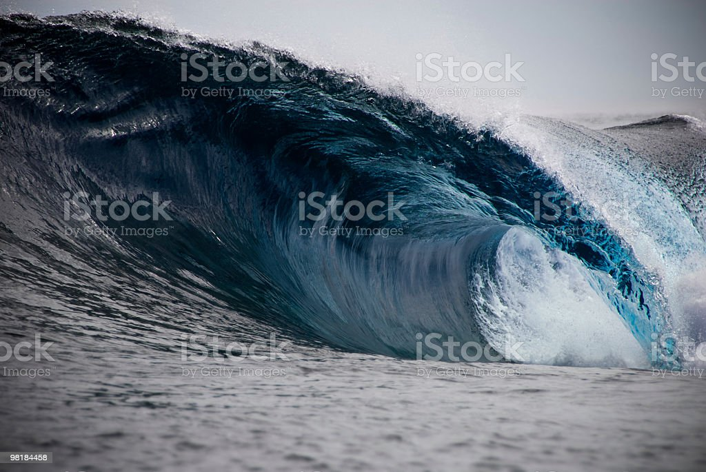 Big Blue Barrelling Wave royalty-free stock photo