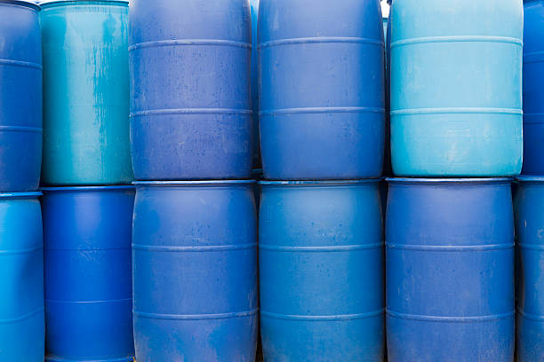 Big Blue Barrels stock photo