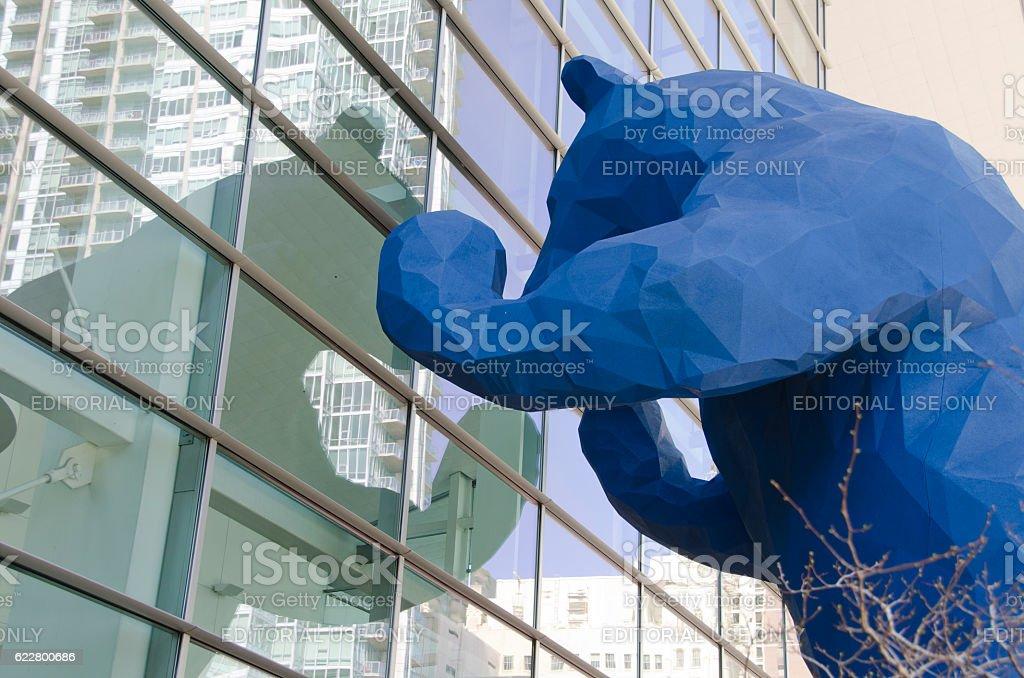Big Blue Bear At Colorado Convention Center In Denver Stock